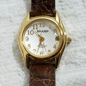Sharp Gold Plated Quartz Watch Leather Band